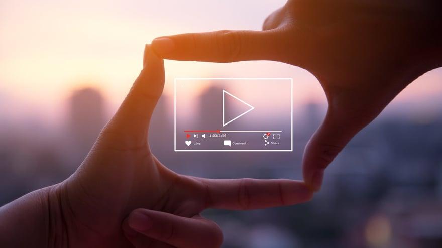 hands framing a video screen